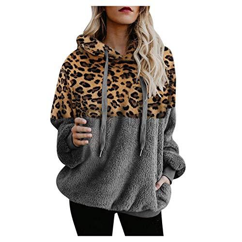 Yowablo Kapuzenpullover Mantel Frauen Winter Warme Wolle Leopard Tasche Baumwollmantel Outwear (S,5Grau)