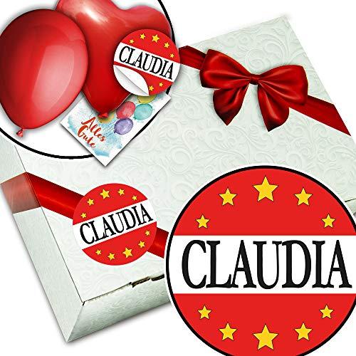 Claudia + Geschenkbox aus Karton + Namenstag Geschenk Claudia
