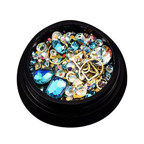 Nail Art Strasssteine, gemischte 3D Nagel Dekoration Kristalle mit flachen und scharfen Ruchen und Strasssteine ??für DIY Nail Art (hellblau)