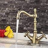 XYSQWZ Baño de Cobre Grifo de Fregadero de Cocina Doble 360 Grifo Giratorio para Lavabo Grifo de Lavabo