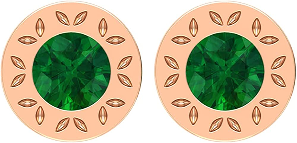 3/4 CT Created Emerald and Engraved Gold Stud Earrings (AAAA Quality),14K Rose Gold,Lab Created Emerald