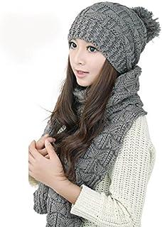 Un ncie Women's Thicken Woolen Cotton Knitted Warm Beanie Hat And Scarf Set (Grey)