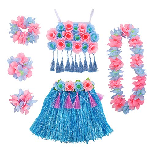 LUOEM Conjunto Hawaiano de Hula Dancer Grass Falda Tropical ...