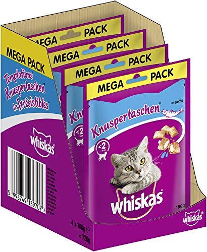 Whiskas Katzensnacks Knuspertaschen mit Lachs, 4 Packungen (4 x 180 g)