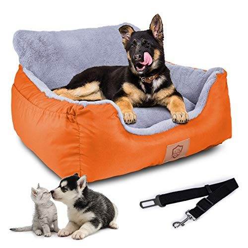 Topmart Dog Car Bed,Puppy Booster Seat Dog Travel Car Carrier Bed with Storage Pocket and Clip-on Safety Leash Removable Washable Cover