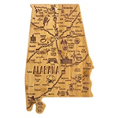 """Celebrate your """"Sweet Home"""" state with this beautiful bamboo cutting and serving board in the shape of Alabama with permanent, laser-engraved artwork Fun, whimsical laser-engraved artwork calls out all the wonderful sights and places in the state fro..."""