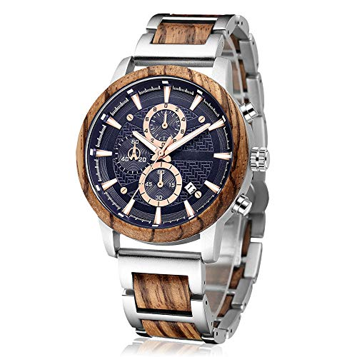 Men's Wooden Watch, shifenmei S3016 Multifuctional Wood Watches for Men Fashion Male Wooden Wrist Watch Stylish Wood & Metal Chronograph Watch Date Display Liminous Quartz Watches (Brown)