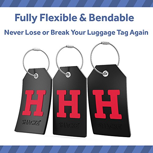 Initial Luggage Tag with Full Privacy Cover and Stainless Steel Loop (Black) (H)