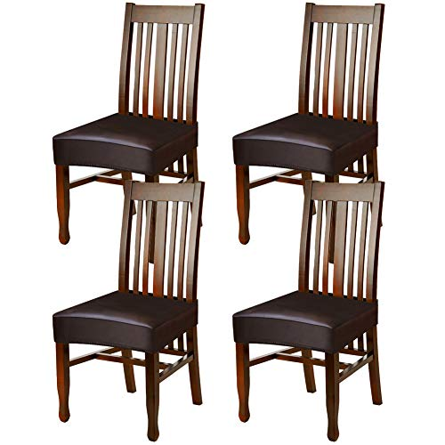 YISUN Dining Chair Covers, Solid Pu Leather Waterproof and Oilproof Stretch Dining Chair Protector Cover Slipcover (Coffee, 4 Pack)