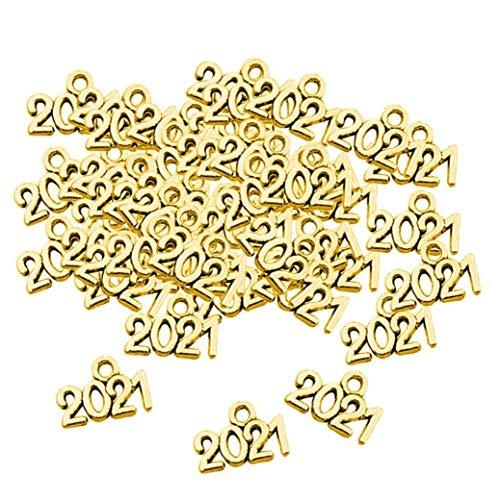 Number Year 2021 Pendants DIY Crafts Jewelry Metal Gold for DIY Bracelets Necklace Crafts 50 PCS