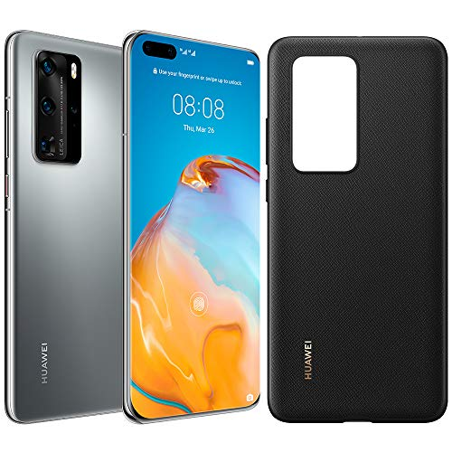 HUAWEI P40 Pro - 256GB 6.58' Smartphone Bundle with PU Case, Kirin 990 5G, 50MP Ultra Vision Leica Quad Camera, 8GB RAM, 40W HUAWEI SuperCharge, IP68, SIM-Free Android Mobile Phone, Dual SIM, Silver