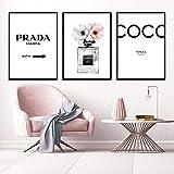 Vogue Poster Perfume Pintura Abstracta Citas Botella de Perfume Arte de la Pared Impresiones de la Lona Pink Peony Carteles Imágenes de Pared Decoración para el hogar Sin marco-50x70cmX3