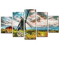 アートフレーム モダンDaoxiang風車現代壁掛け ソファの背景絵画 寝室壁アート HD しゃしん 5パネルセッ( 木枠付きの完成品)200x100CM