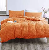 3 Pieces Orange Duvet Cover Set, 100% Washed Microfiber Seersucker Duvet Cover Set Queen, Ultra-Soft Luxury & Natural Wrinkled Look, Quality Hotel Comforter Cover Set with Zipper Closure