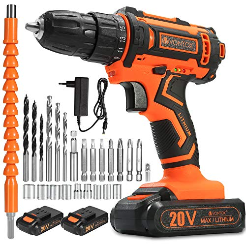 V VONTOX Cordless Drill/20V Power Drill, 42N.m, 2x2000mAh Batteries, 1H Fast Charger, 3/8 inch Chuck, 2 Variable Speed, 18+1Torque Setting, with 24pcs Drill Bits Set