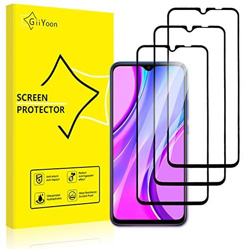 GiiYoon-3 Piezas Protector de Pantalla para Xiaomi Redmi 9 Cristal Templado,[Sin Burbujas] [Cobertura Completa] [9H Dureza] Vidrio Templado HD Protector Pantalla para Xiaomi Redmi 9