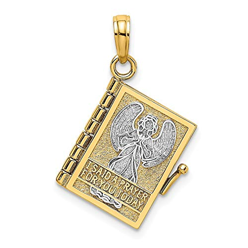 14k 3-D Angelo Copertina Libro I Said Preghiera Per You Charm