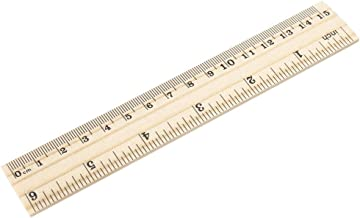 uxcell Wood Ruler 15cm 6 Inch 2 Scale Office Rulers Wooden Measuring Ruler 5pcs
