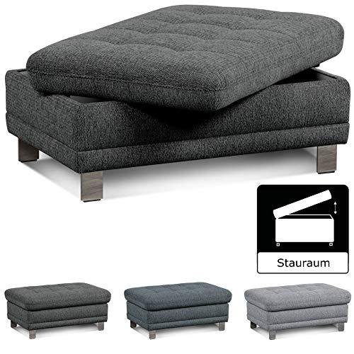 """Cavadore Sofa-Hocker """"Imit"""" mit Stauraum / Praktischer Beistellhocker, Sitzhocker, Polsterhocker mit Stauraum / Metallfüße / Größe: 102x46x68 cm (BxHxT) / Strukturstoff in anthrazit (grau)"""