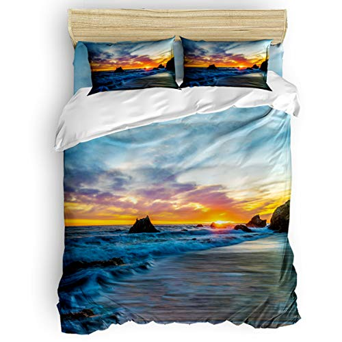 Amaze-Home Wave Ocean Sunrise 4 Pieces Bedding Sets Queen Flannel Duvet Cover Sheet Bedspread with 2 Decorative Pillow Shams for Bedroom Dorm Hotel Scenery