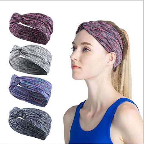 Ushiny Boho Geknoopt Hoofdbanden Elastische Turban Hoofd Wrap Tie Dye Gedrukt Haarwrap Yoga Twisted Hoofdband Criss Cross Haarband Accessoires voor Vrouwen en Meisjes(4st)