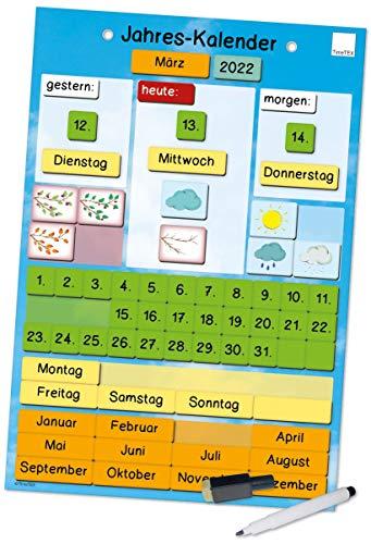 TimeTEX Jahres-Kalender magnetisch - zeigt Datum, Wochentage, Jahreszeiten und das Wetter - ca. 28 x 41 cm- 94918