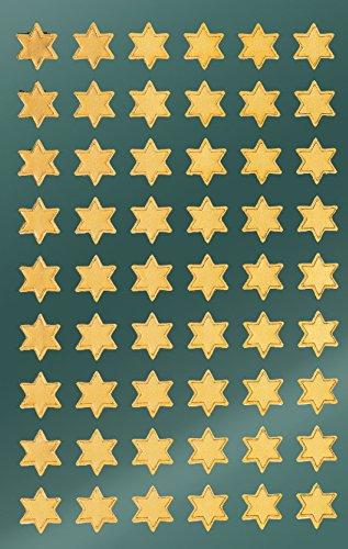 AVERY Zweckform Art. 52802 Aufkleber Weihnachten 108 goldene Sterne (Weihnachtssticker aus Glanzpapier, selbstklebende Weihnachtdeko für Karten, Geschenke, DIY) 2 Bogen mit je 54 Sternstickern