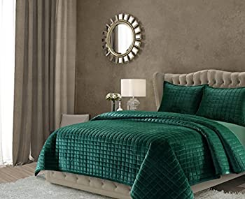 Tribeca Living FLORENCEQUIQUEG Florence Velvet Oversized Solid Quilt Set Queen Emerald Green