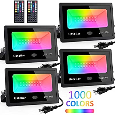 Ustellar 4 Pack 25W RGB LED Flood Lights Color Changing Led Indoor Outdoor Floodlights Dimmable Remote Waterproof Strobe Light Party Uplighting Halloween Landscape led Wall Wash Garden Stage Lighting