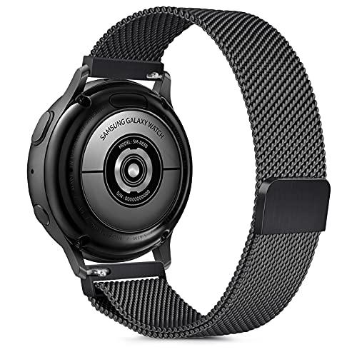 Gaoren Kompatibel mit Samsung Galaxy Watch Active/Active2 40mm 44mm/Watch 3 41mm Armband, 20mm Edelstahl Metall Ersatz Uhrenarmband für Gear Sport/S2 Classic/Garmin Vivoactive 3 (Schwarz)