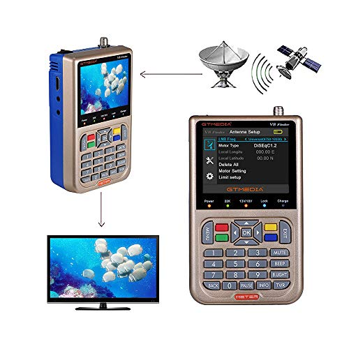 GT MEDIA V8 Satellite Finder Meter TV DVB-S/S2/S2X Signal Receiver H.264 Sat Detector, HD 1080P Free to Air FTA 3.5' LCD Built-in 3000mAh Battery for Adjusting Sat Dish