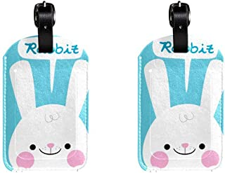 Cute White RubbitLeather Luggage Tags Suitcase Labels Bag Travel ID Bag Tag, 1 Pcs
