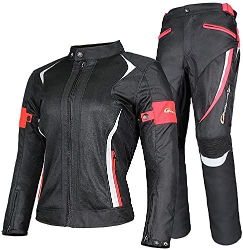 Damen Motorradkombi 2-Teiliger Jacke Und Hose Mit CE Protektoren Reflektierendes Design Trocken Und Bequem Für Alle Wetter(Color:Red;Size:XXL-XXLarge)