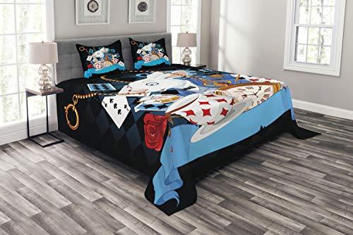 ABAKUHAUS Alice im Wunderland Tagesdecke Set, Wonderland Tale, Set mit Kissenbezügen Maschienenwaschbar, für Doppelbetten 264 x 220 cm, Mehrfarbig