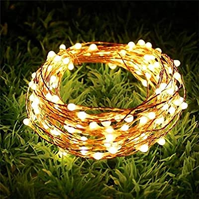 KAQ- Super Bright 100LED Solar String Lights Outdoor (Upgraded Oversize Beads) 8 Modes Christmas Lights Waterproof Fairy Lights for Christmas, Wedding, Party (Warm White)