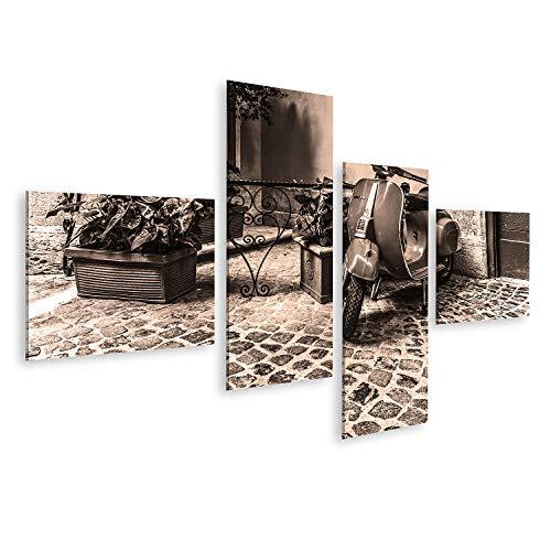Bild auf Leinwand Vespa geparkt malerische Ecke Roma Italy Oktober Bilder Wandbild Poster Leinwandbild