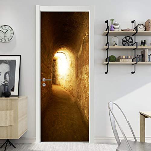 ANHHWW Türtapete Selbstklebend Wasserdicht Pvc Abnehmbar 77X200Cm Unterirdischer Lichttunnel Tapete Fototapete - Türposter Türaufkleber Für Wohnzimmer, Schlafzimmer Tür Dekoration