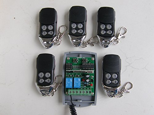 Universal 2-kanal rolling & fixed Code Funkempfänger 433,92MHz +5 rolling code handsender