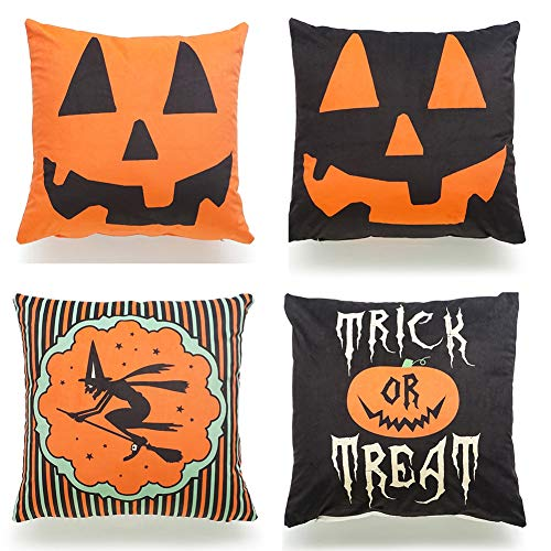 WAQIA 6Pcs Home Decorative Pillowcases Halloween Pillow Fall Autumn Retro Cushion Cover Character Pillow Case For Home Office Car Bed Sofa Decor 17.7×17.7in/45×45cm