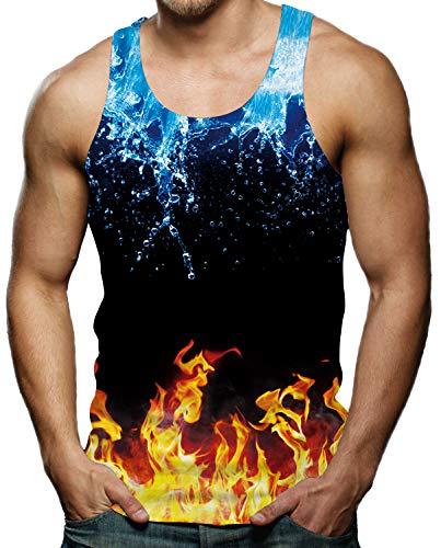 Rave on Friday Herren Unterhemd 3D Wasser und Feuer Druck Lustig Tanktop Fitness Slim Fit Männer Ärmellos Sommer Sportshirt Gym Muskelshirts T-Shirt M