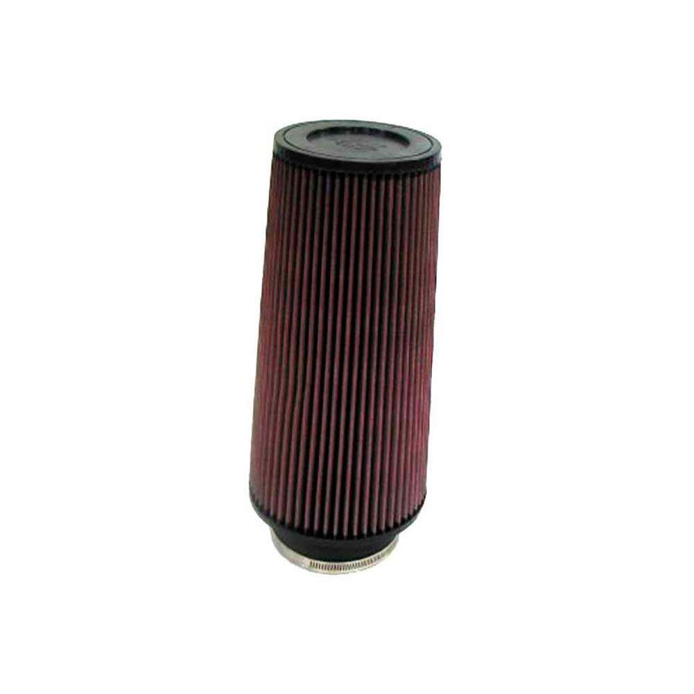 K/&N RC-4780 Universal Clamp-On Air Filter: Round Tapered; 4 in 168 mm 133 mm Top 241 mm Flange ID; 9.5 in Base; 5.25 in 102 mm Height; 6.625 in