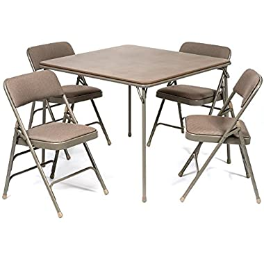 5pc. XL Series Folding Card Table and Triple Braced Fabric Padded Chair Set, Commercial Quality, Beige