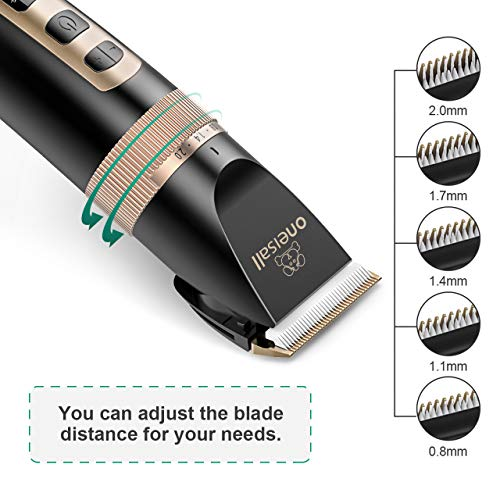 oneisall Dog Clippers Professional, 2-Speed Quiet Rechargeable Cordless Pet...