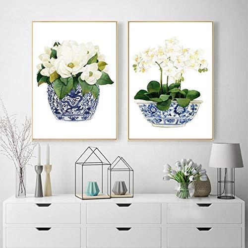 PGMZQHGF Orquídea Blanca y Magnolia Acuarela Chinoiserie Decoración Impresión en Lienzo Florero Oriental Tarro de Flores de Porcelana Estilo Sauce Blanco Azul   40x50cmx2 Sin Marco