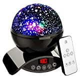 Amouhom Night Light Baby Star Projector, 8 Color Rotation Lamp with Timer Remote and Chargeable, Dimmable Combinations Romantic Star Sky Best Gift for Kids Festival Bedroom Living Room (Black)