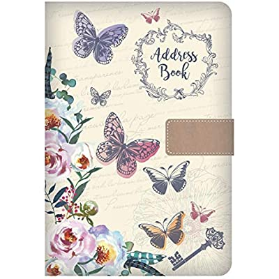Telephone Address Book A-Z Index Beautiful Fabric Vintage Style Cover A5 Hardback Address Book with Magnetic Lock Bird