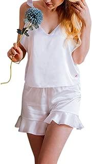 Women Robes Pajamas Kimono Sleepwear Long/Short Silk Satin (Black/White)