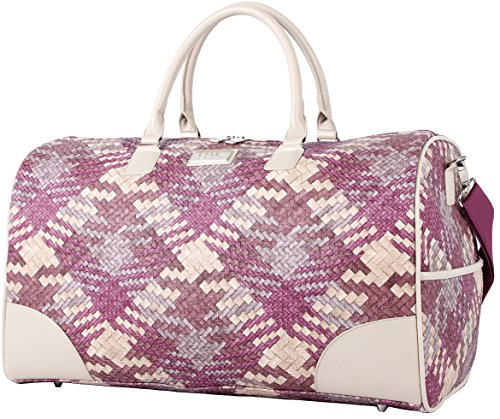 Nicole Miller New York Designer Duffel Bag Collection - Lightweight 21 Inch Travel Tote for Men & Women - Weekender Overnight Gym Carry On Suitcase (Sharon City Woven Purple)