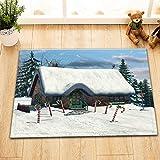 taquxinlaowan Winter Cottage Candy Cane Duschvorhang Liner Badezimmer Polyester Stoff Haken