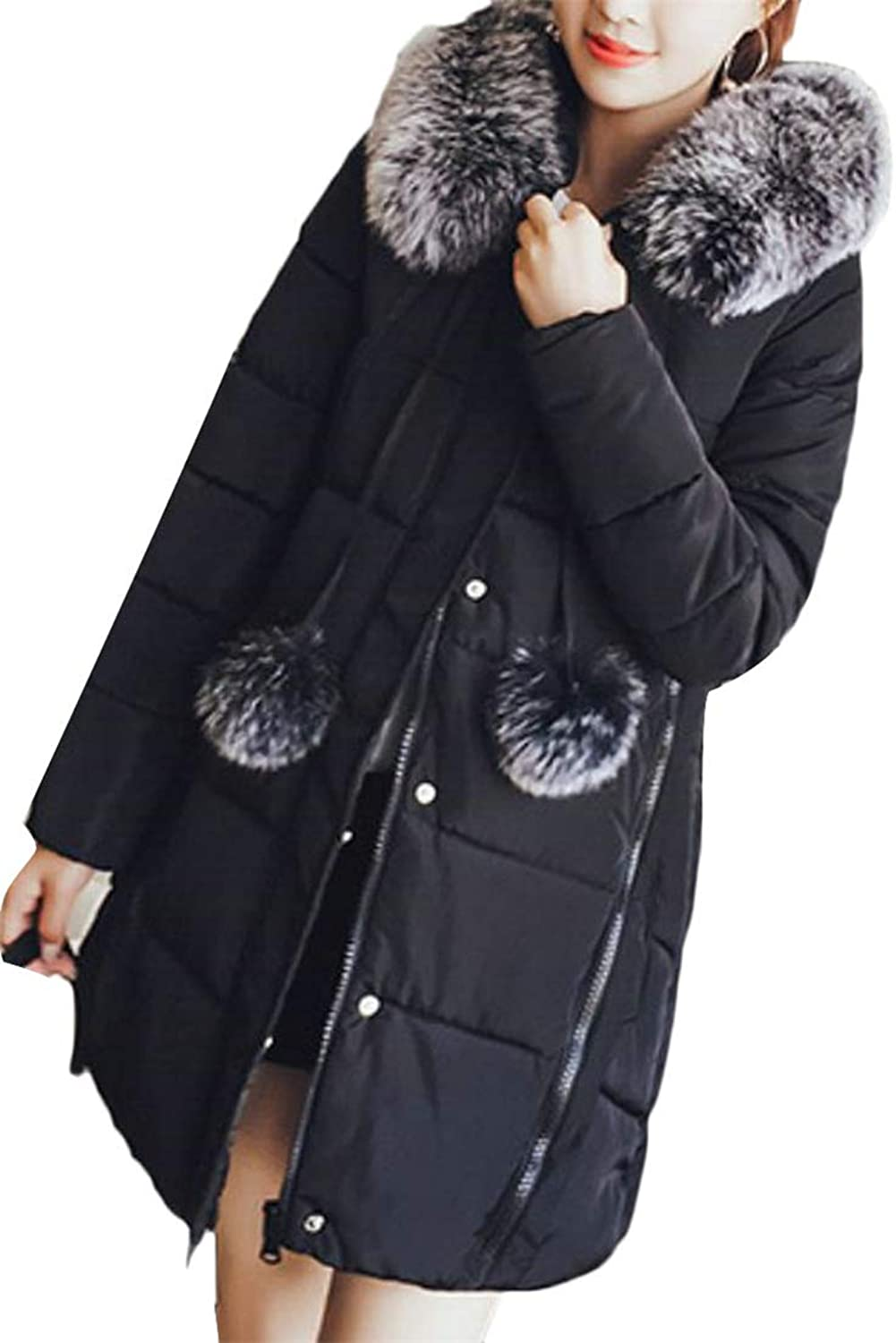 JSY Women Autumn Winter Faux Fur Hooded Parkas Outer Quilted Flare Down Coat